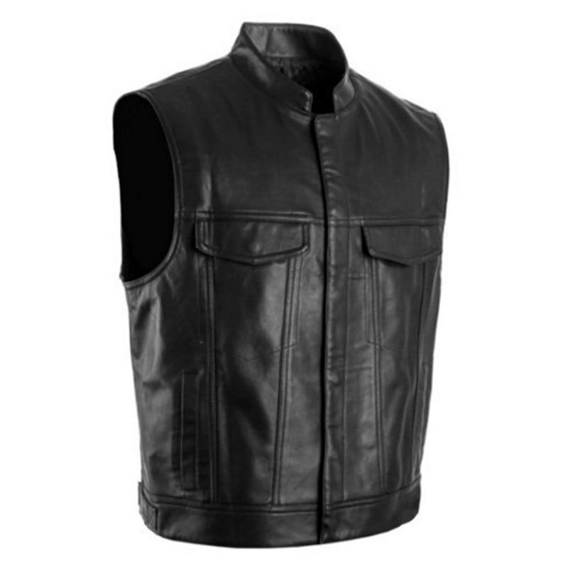 Idopy Men Vest Black Biker Motorcycle Hip Hop Waistcoat Male Faux Leather Punk Solid Black Biker Sleeveless Jacket Vest