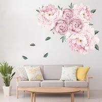 Doux rose pivoine fleurs Stickers muraux pour enfants chambre salon chambre meubles autocollant decoration de la maison mur decalcomanie decor a la maison