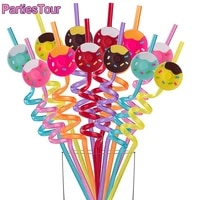 8x reusable donut straws kids baby shower birthday party supplies donut plastic drinking straws for party favors birthday decor