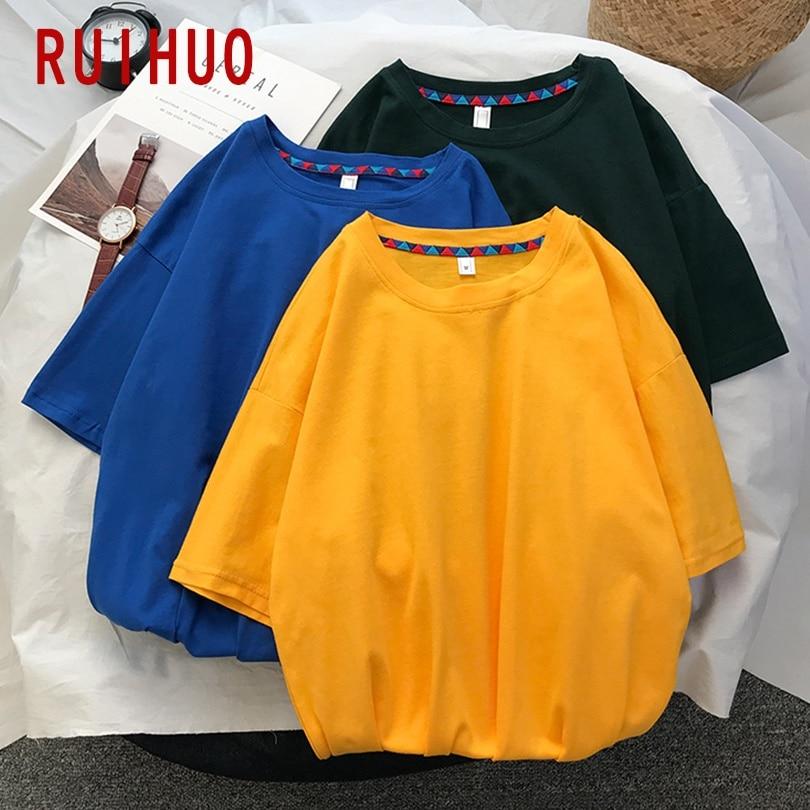 RUIHUO 2020 New Summer Solid Cotton Short Sleeve T Shirt Men Casual Tops Fashion Male Funny Tshirt Men T Shirt Clothing M-5XL