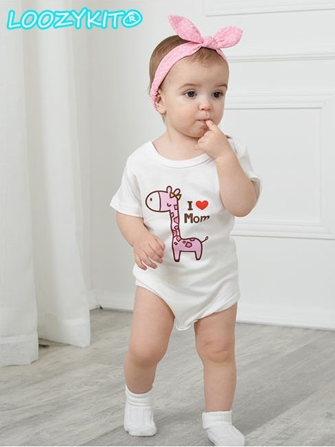 Short-sleeved Jumpsuit Baby Fart Cute Giraffe Print Romper