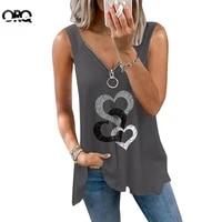 2021 summer v neck zipper sleeveless tops women hearts print casual loose tank tops ladies loose sexy vest harajuku t shirt