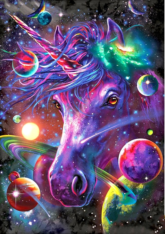 JMINE Div 5D univers coloré licorne terre espace galaxie complet diamant peinture kits art dessin animé 3D peinture par diamants