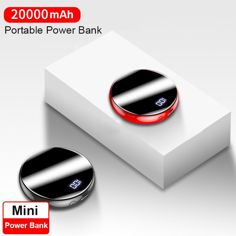 20000mAh Mini batería externa del Banco de potencia Banco espejo pantalla 2.1A carga rápida ronda Powerbank cargador portátil para teléfono inteligente