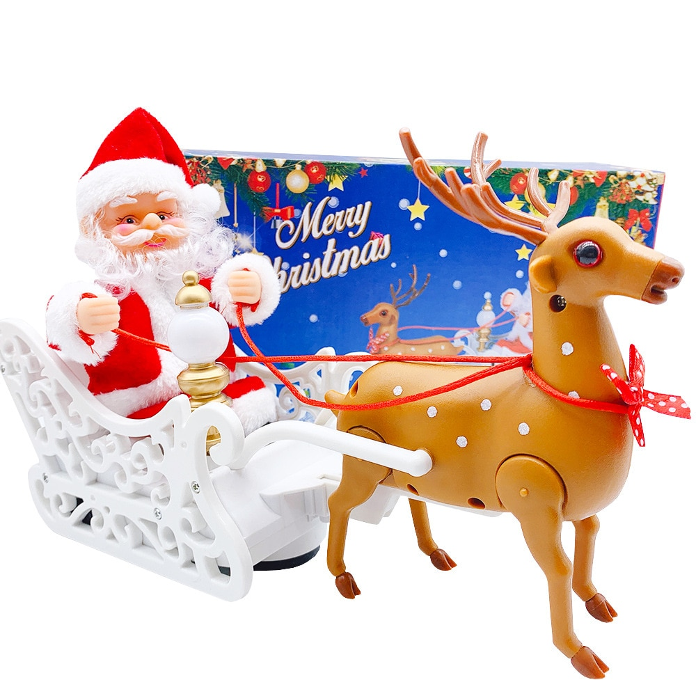 New Christmas Toy Santa Claus Elk Sled Electric Music Car Children Kids Gifts Xmas Toys Doll Home Festival Decoration недорого
