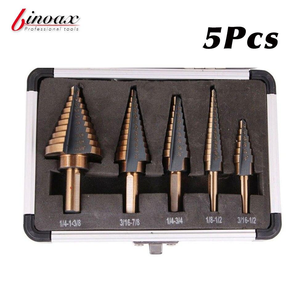 BINOAX 5 unids/set HSS cobalto múltiples agujeros 50 tamaños paso broca conjunto con caja de aluminio