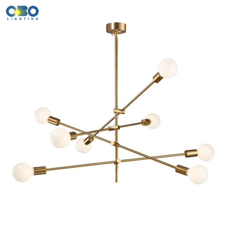 north american country pendant lights loft retro dining room bedroom ceiling lamp simple creative iron 3 6 heads pendant lamps Nordic Pendant Lamp Iron Gold E27 LED Modern Indoor Lighting Luxurious 4/6/8 Heads For Bar Stair Dining Room Loft Pendant Lights