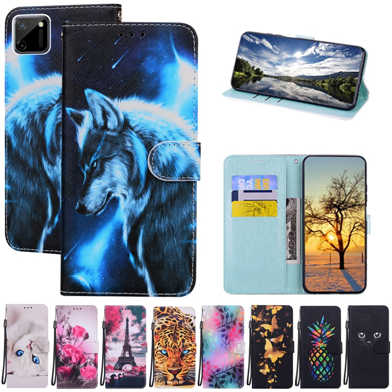 Realme C11 Case Luxury Cartoon Flower Flip Case For OPPO Realme C11 Leather Wallet Cover Phone Case