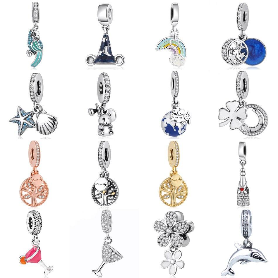 S925  Jewelry Parrot Magic Hat Rainbow Moon and Stars Treasure Seastar Family Tree Dangle Charms fit Pandora Bracelets