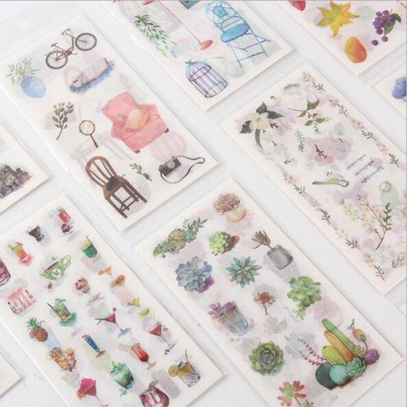 6 hojas/paquete al por menor pegatinas de papel tinta y acuarela decoración creativa Simple cuenta a mano diario DIY etiqueta adhesiva Diary