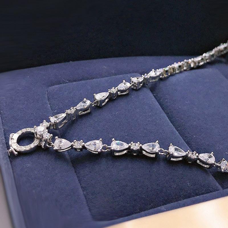 OEVAS 100% 925 Sterling Silver Full High Carbon Diamond Chains Necklace For Women Sparkling Wedding Party Fine Jewelry Wholesale
