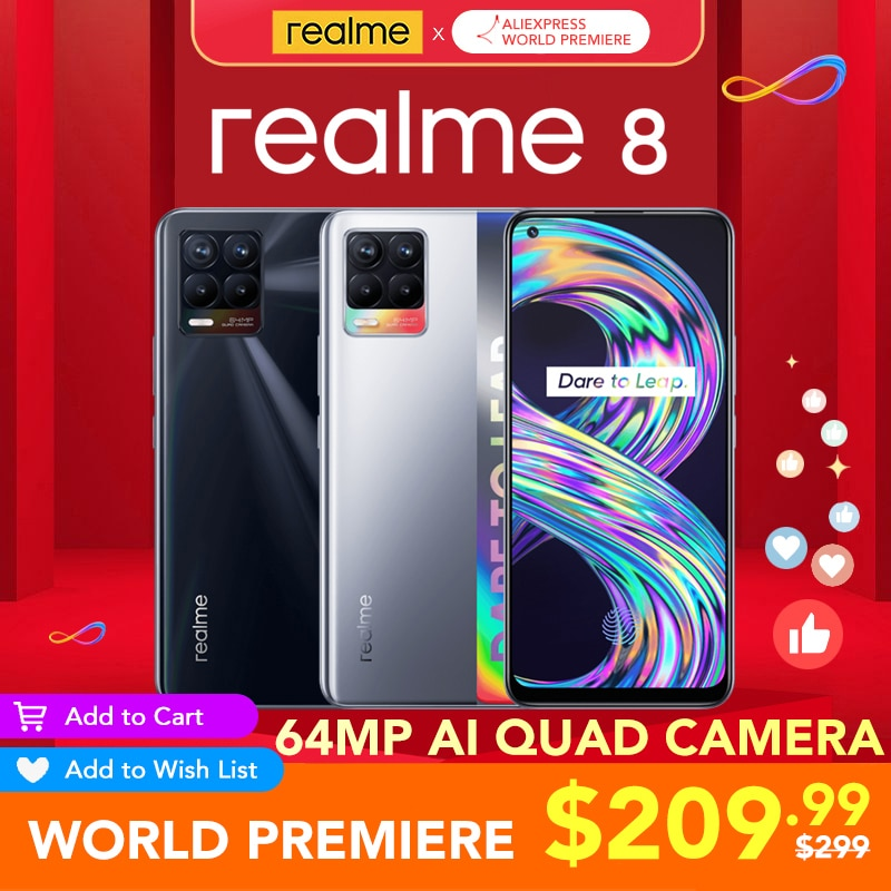 [WORLD Premiere ] realme 8 Global Version 6GB RAM 128GB ROM 30W Charge Helio G95 6.4