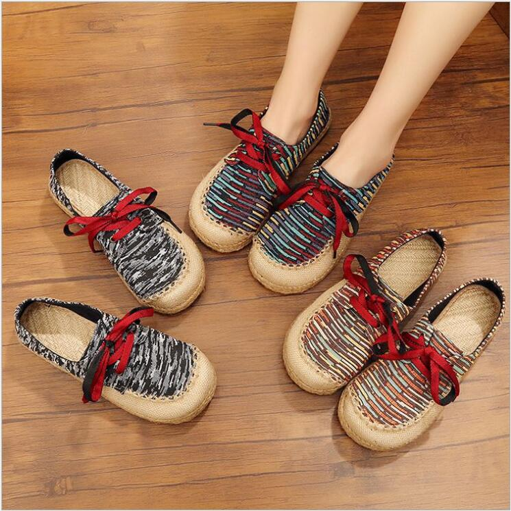 انخفاض أعلى أحذية النساء رئيس مستديرة كعب سميك طالب حذاء قماش شبكة طلاب الجامعات نمط تنفس أحذية الدانتيل