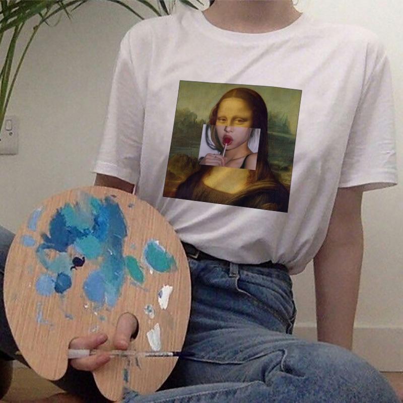 2020 New Mona Lisa And Van Gogh Funny Print Casual Personality Aesthetics Streetwear Tracksuit Kawaii Vogue Women Blouses Shirt