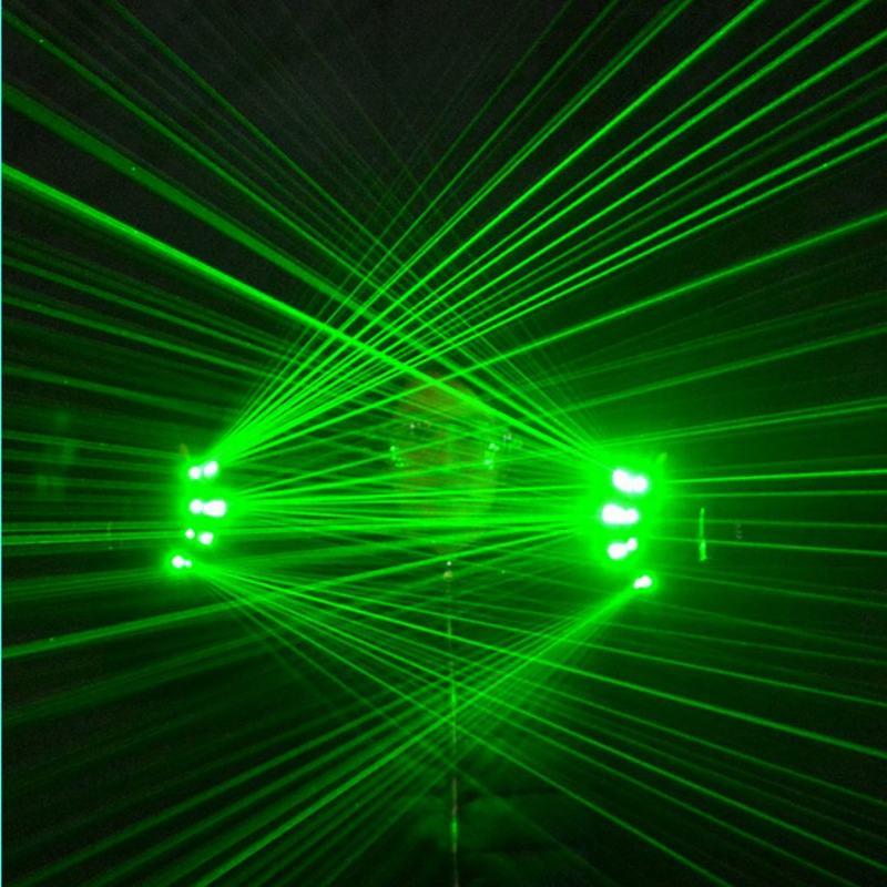 عالية الجودة DJ نادي 4 قطعة 532nm 80mw الأخضر الليزر قفازات ل LED مضيئة ازياء تظهر