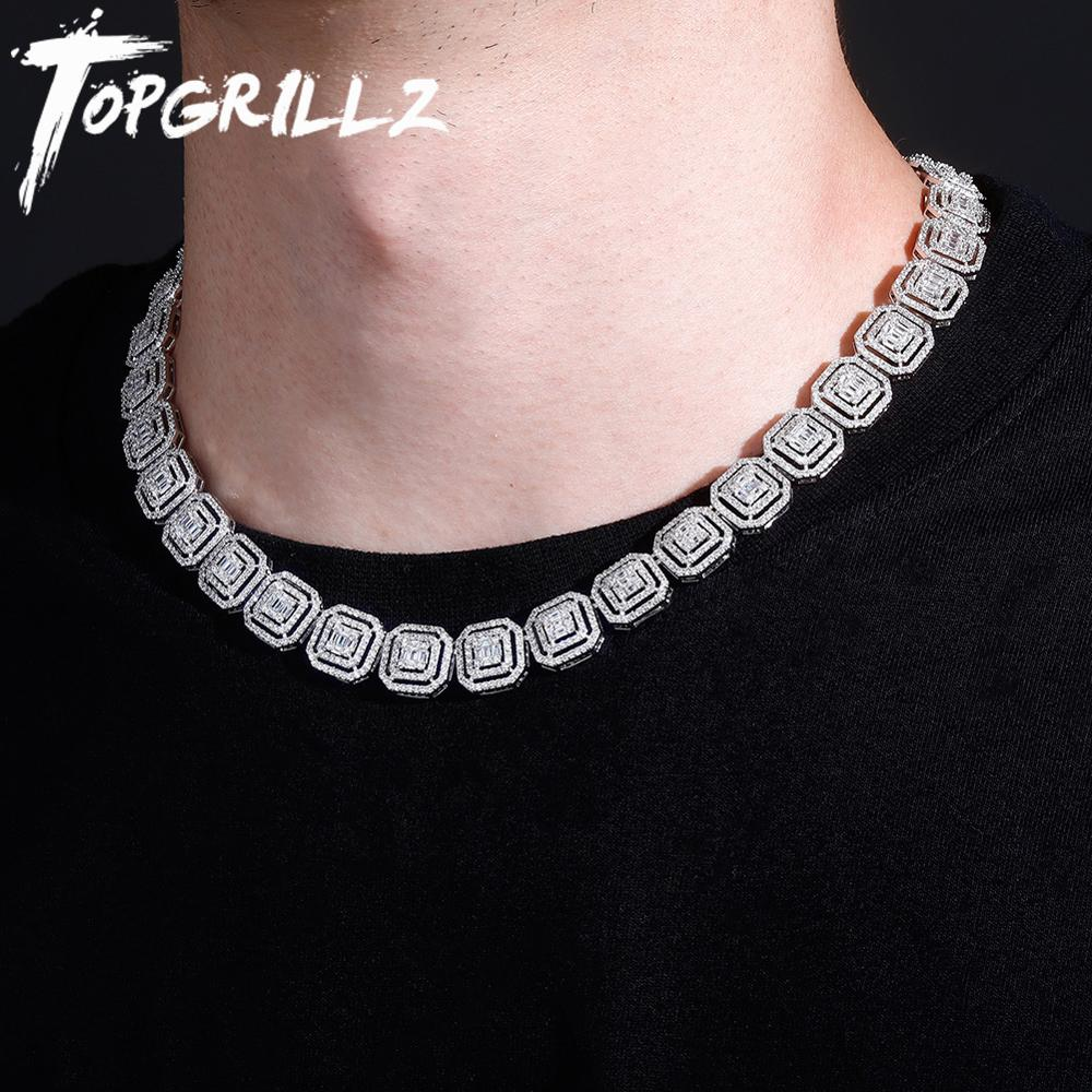 Review TOPGRILLZ New 13mm Personality Iced Out Baguette Necklace Miami Cuban Chain Micro Pave Cubic Zirconia Hip Hop Jewelry For Gift