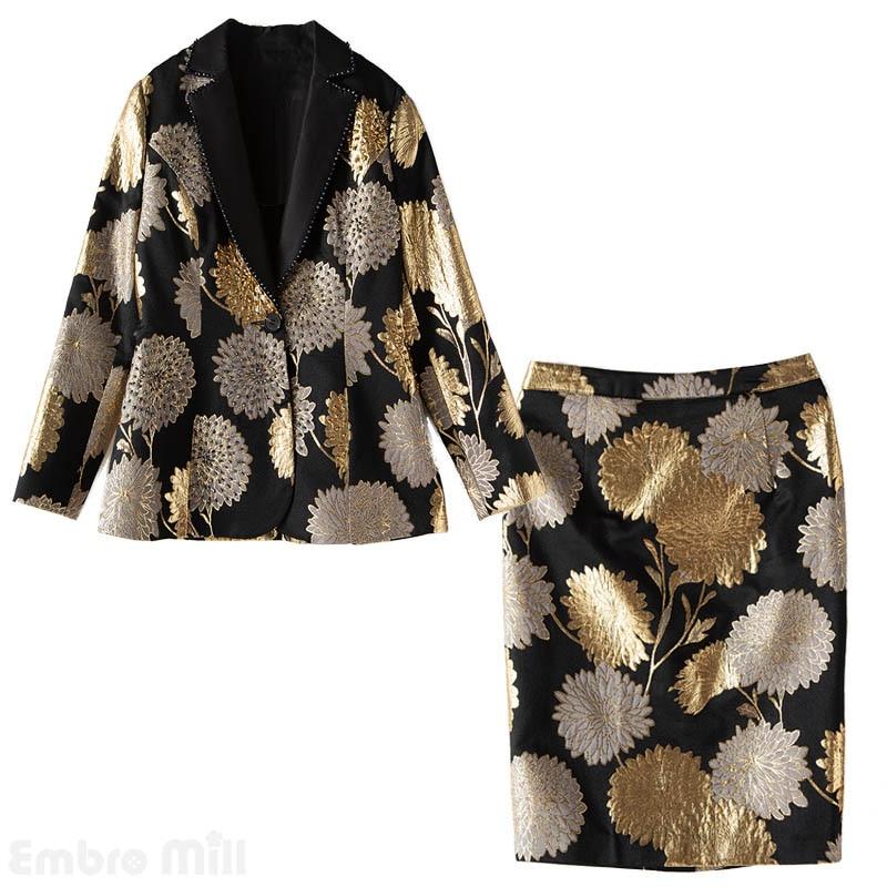 Embro Mill de Otoño de las mujeres 2 piezas vintage floral suelto cordón abrigo Tops + Jacquard faldas elegante traje de dama mujer M-XXL