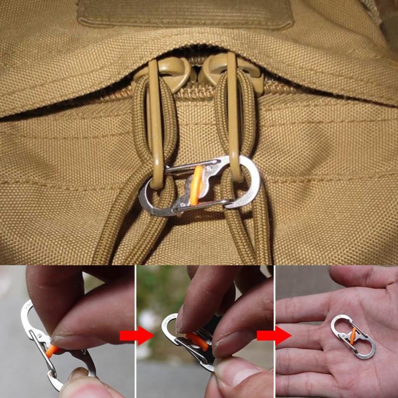 5 Buah Gantungan Kunci Karabiner Kemping Luar Ruangan dengan Kunci 8 Berbentuk S Gesper Ransel Anti Maling Gesper Mendaki Logam Antijatuh