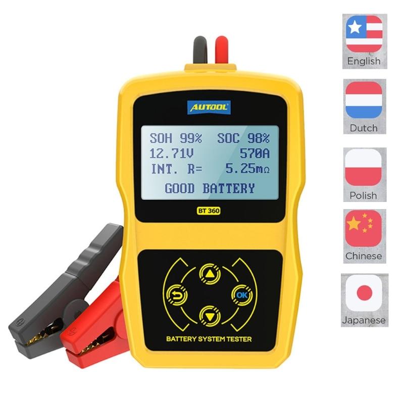 1 компл. BT360 автомобильный тестер аккумулятора, система зарядки, тестовый сканер, интеллектуальная регистрация автомобильных аккумуляторов