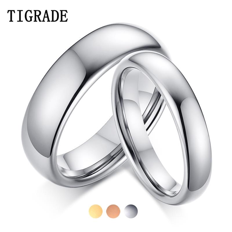 Tigrade, anillo de pareja para hombres y mujeres, anillo de tungsteno, anillo de compromiso clásico para boda, dorado, rosa, Color especial, Fecha de Escritura, nombre