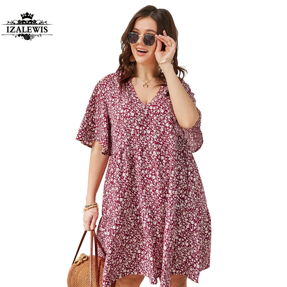2021 New Women Short Sleeve V-Neck Summer Flower Print Plus Size Dress Casual Flare Sleeve A-Line Dresses Women's Fashion Beach