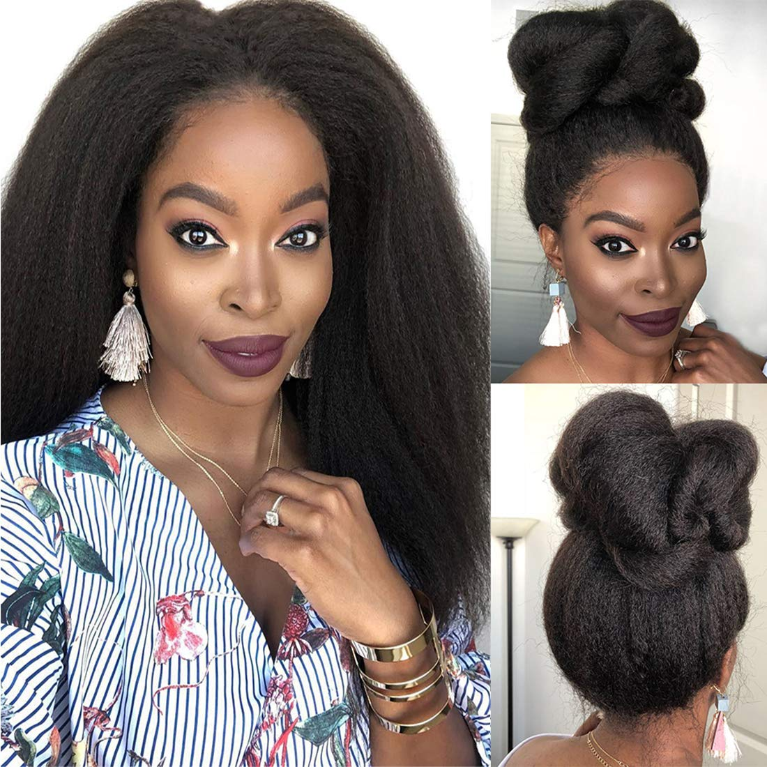 Yaki Straight 13x4 Lace Front Human Hair Wigs Peruvian Transparent Remy Lace Frontal Human Hair Wigs For Black Women Pre Plucked