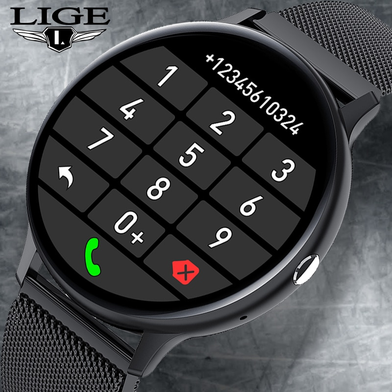 LIGE 2021 Bluetooth Answer Call Smart Watch Men Full Touch Dial Call Fitness Tracker IP67 Waterproof