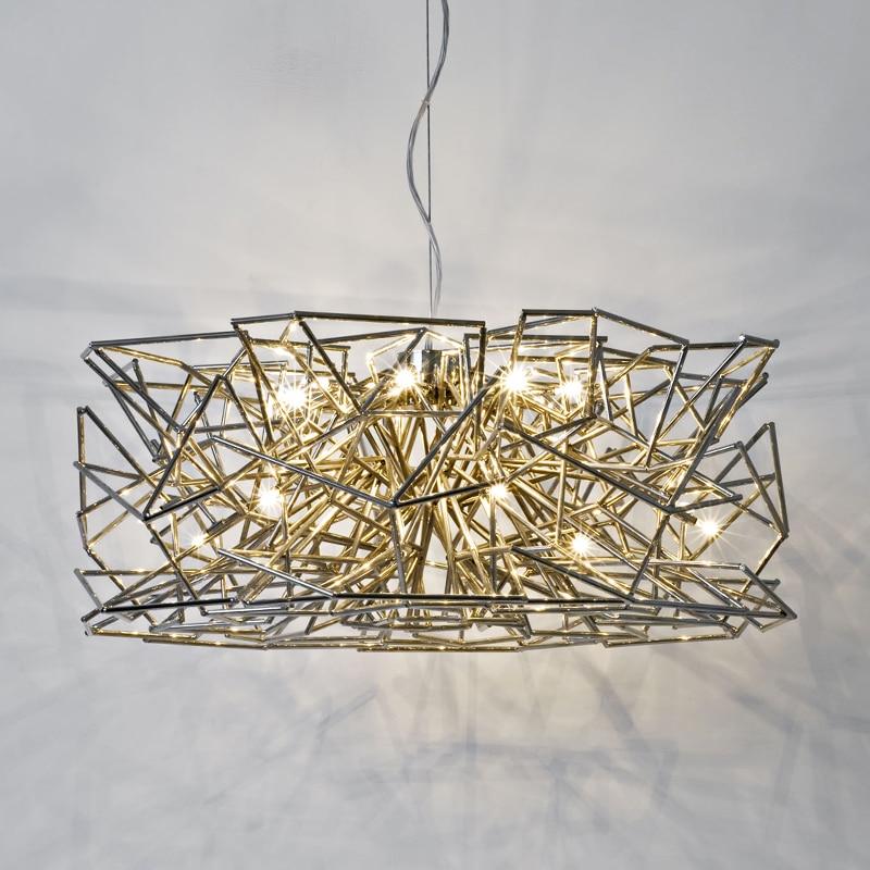 Lámpara colgante postmoderna nórdica italiana 110 v-220 v oro/oro rosa novedosa pieza de arte minimalista Sala bar comedor LED candelabro