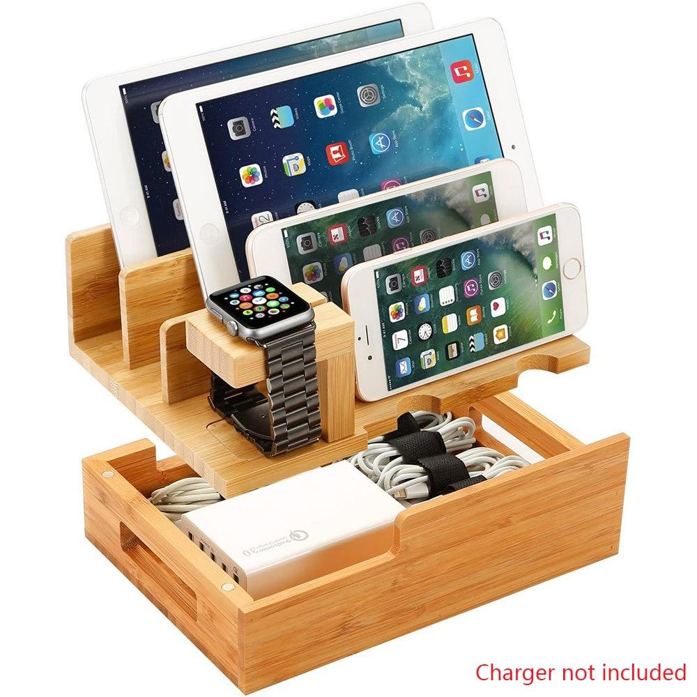 حامل هاتف خلوي من خشب البامبو ، محطة شحن ، صندوق تخزين ، حامل لساعة آبل ، آيباد ، ميني ، آيفون 11 برو 8 Xs