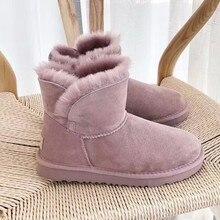 Zapatos cortos de invierno de piel de oveja de alta calidad para mujer de lana natural 100% botas de nieve australianas