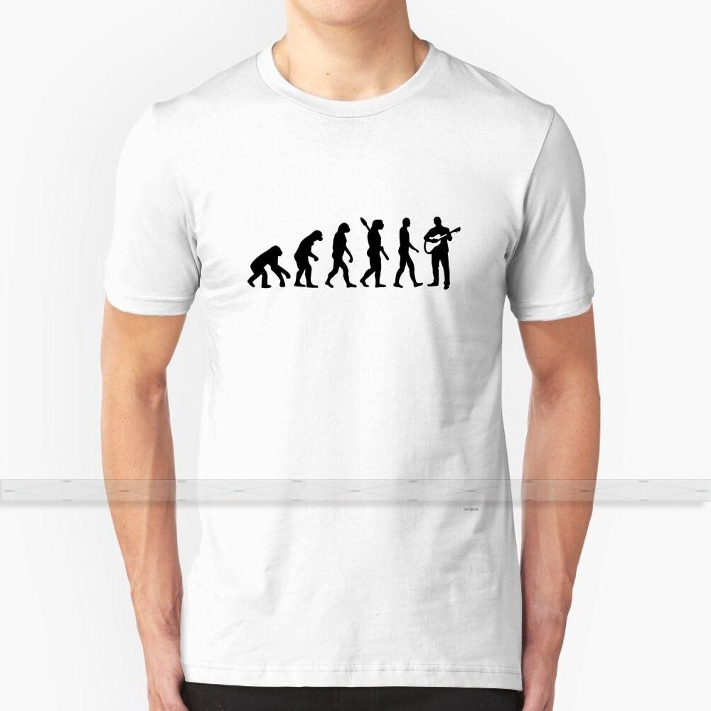 Evolution guitarrista diseño personalizado impresión para hombres mujeres algodón nueva camiseta guay tamaño grande 6xl evolución guitarra Banda de Música
