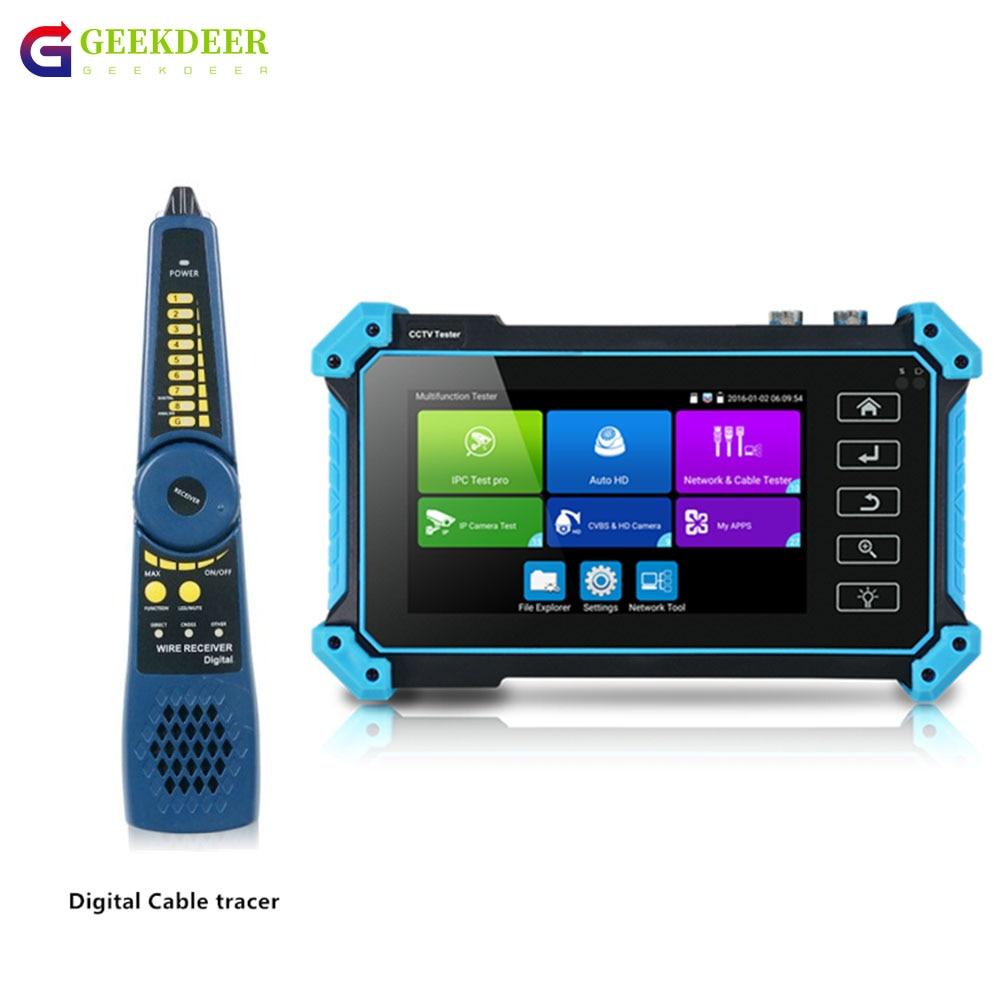 Тестер видеонаблюдения GEEKDGER, тестер с портом IPC, 5 дюймов, 4K, 8 Мп, HDMI, VGA