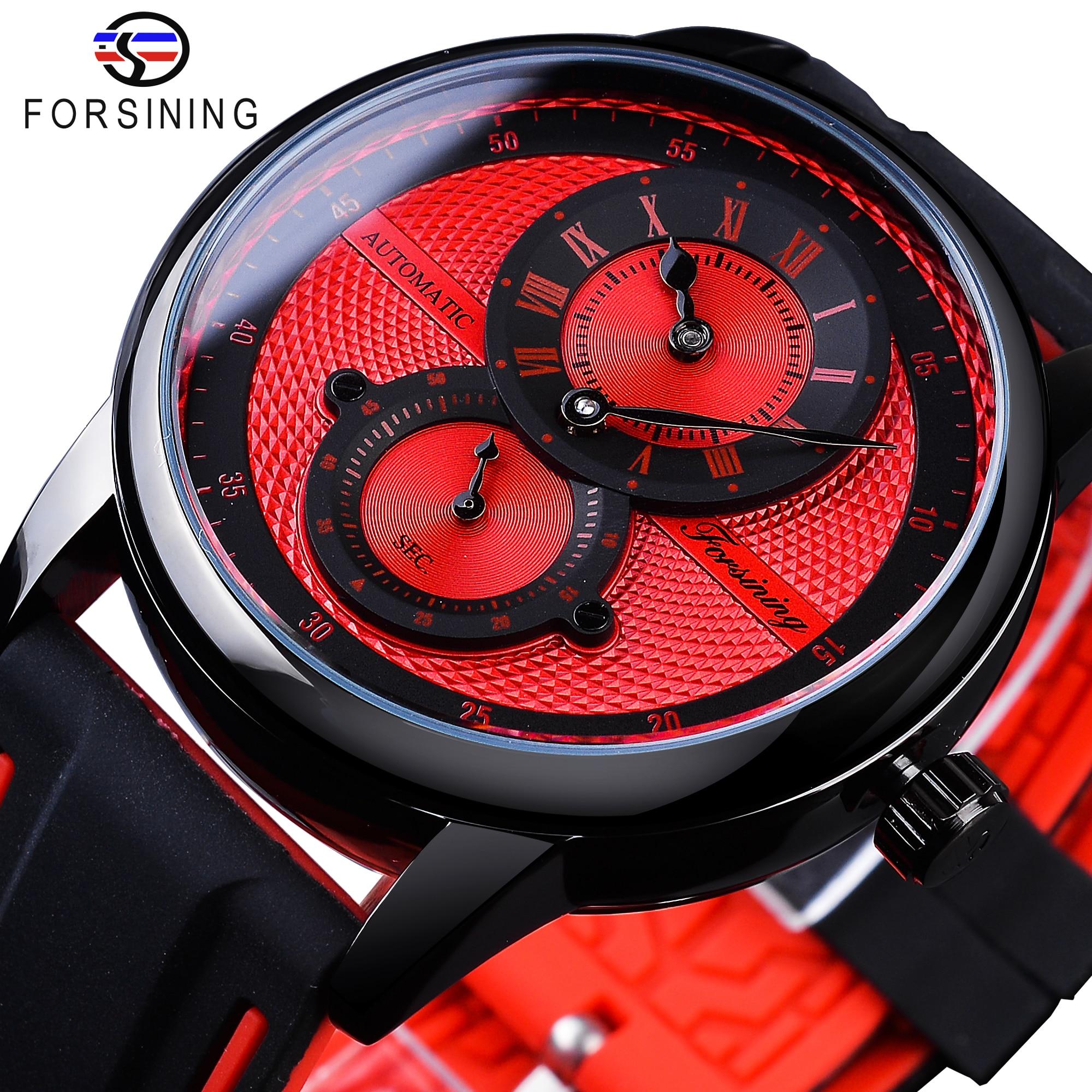 Vermelho dos Homens Relógio de Pulso Forsining Moda Esporte Corrida Design Relógios Automático Mecânico Marca Superior Luxo Masculino Relógio 2021