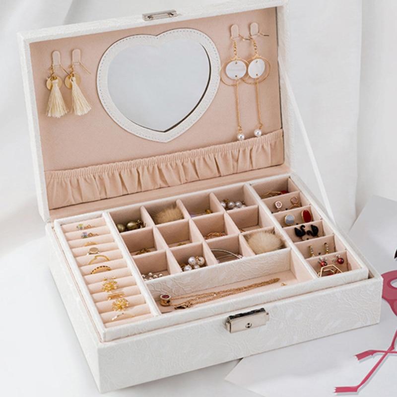 صندوق مجوهرات سعة كبيرة خواتم القلائد المنظم النمط الأوروبي الكورية مع قفل أقراط حامل على شكل قلب هدية للنساء