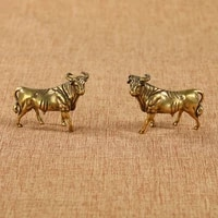 2pcsset copper bull zodiac buffalo home decoration table ornaments animal figurines miniatures office feng shui mascot crafts
