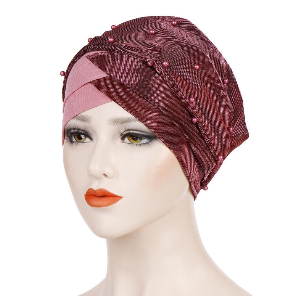 Фото - Fashion Muslim Women Beading Hijab Bonnet Long Tail Turban Caps Islamic Forehead Cross Inner Hijab Cap African Indian Hat new cotton twist women turban caps muslim printed hijab bonnet islamic african wrap indian hat ladies chemo cap bandanas