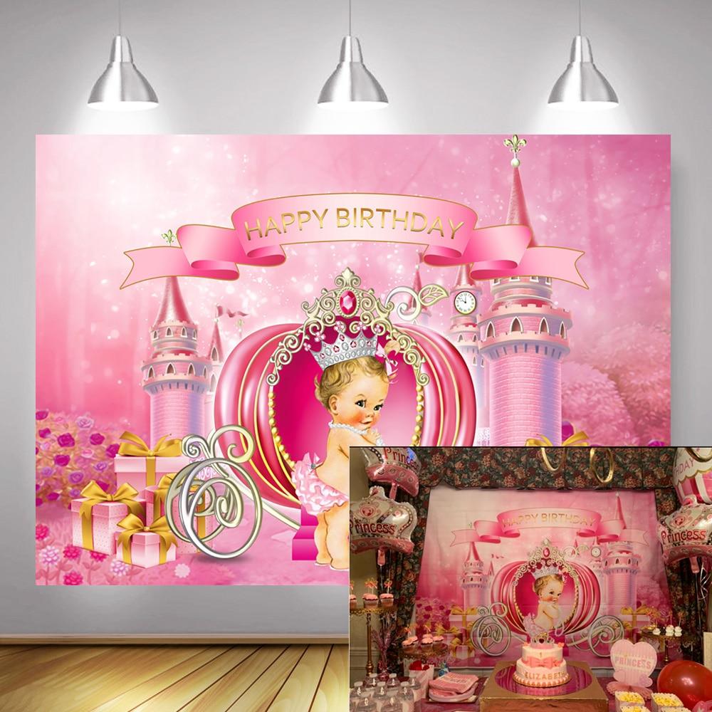 Sueño Castillo tema pequeña princesa cumpleaños telón de fondo cuento de hadas calabaza carro recién nacido foto de fondo rosa chica regalos