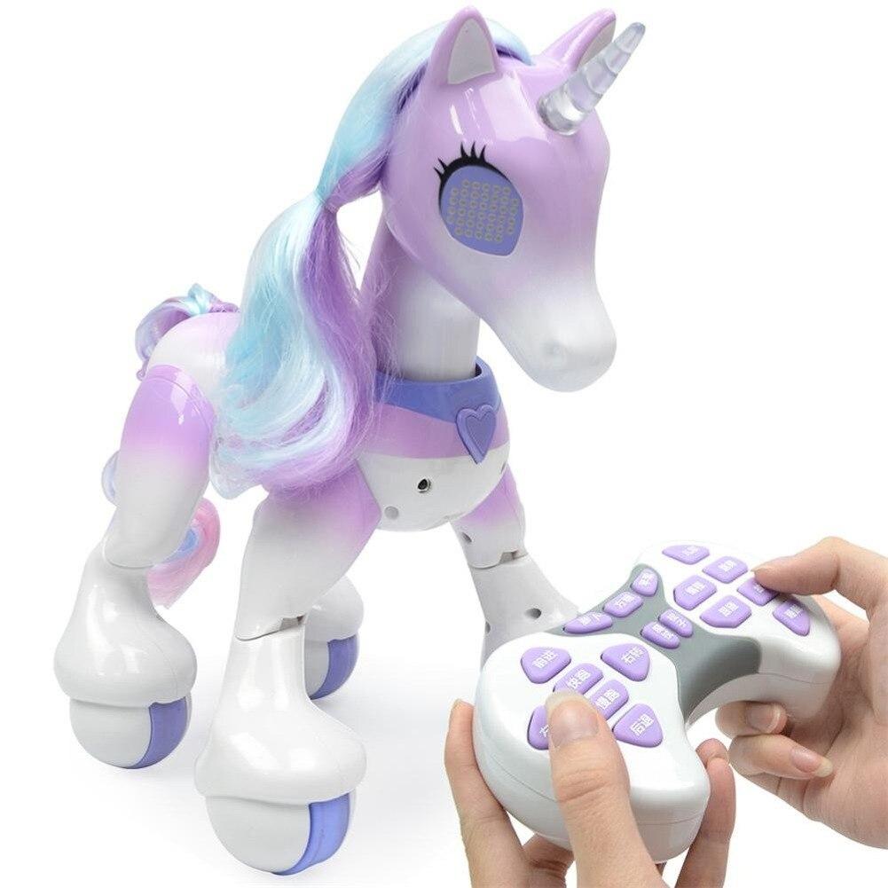 روبوت تعليمي للأطفال على شكل حصان يونيكورن مع ريموت كنترول, متحكم عن بُعد ، نموذج الحيوانات الأليفة ، لعب الأطفال