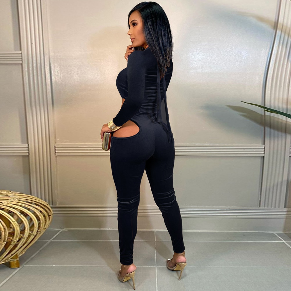 Bulk Lots Wholesale Items Women's Velour Party Long Jumpsuit Early Autumn Side Cut Out Long Sleeve One Piece Overall Club Outfit enlarge
