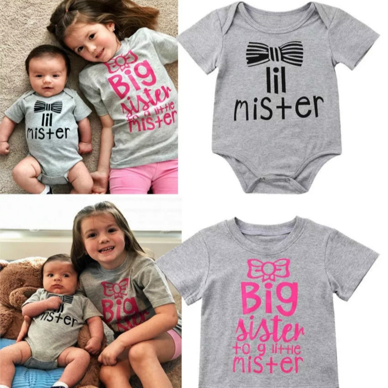 Summer Family Matching Outfits Newborn Baby Boy Big Sister To Little Mister Short Sleeve Romper T-sh