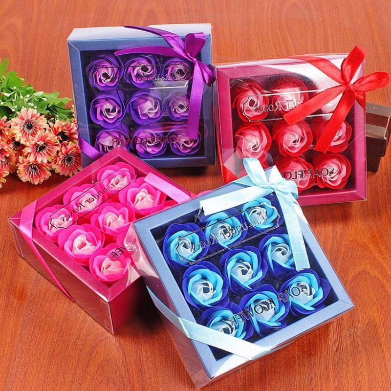 ارتفع عيد الحب هدية 9 قطعة الصابون زهرة روز مربع الزفاف الأم يوم عيد ميلاده الاصطناعي الصابون روز هدية