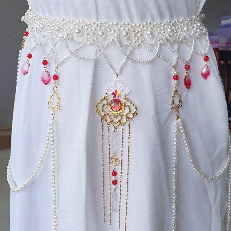 Deepeel, 1 pieza, 70cm, traje Hanfu, cadena de cintura, estilo antiguo, borla larga, fajín de perlas, corsé para la cintura de talla grande, corsé de moda