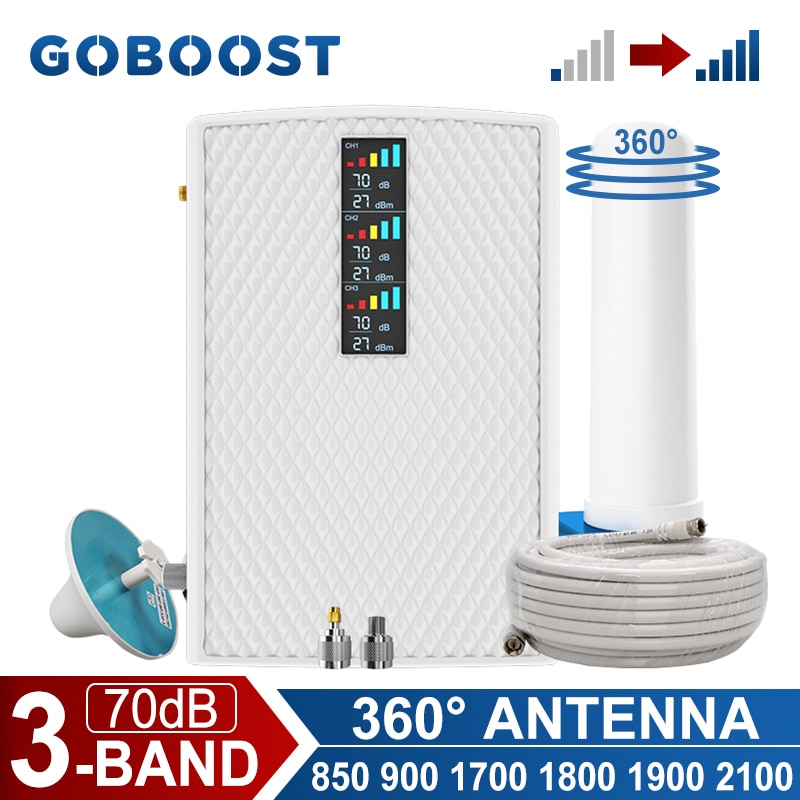 GOBOOST Tri Band Cellular Amplifier 2G 3G 4G Signal Booster 850+900+1700/2100+1800+1900+2100 MHz Repeater With 360° Antenna Kit
