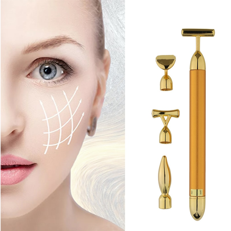 Eye massager Gold Vibration Facial Slimming Face Beauty Bar Pulse Firming Roller Massager  Skin lifter Tightening Wrinkle Stick