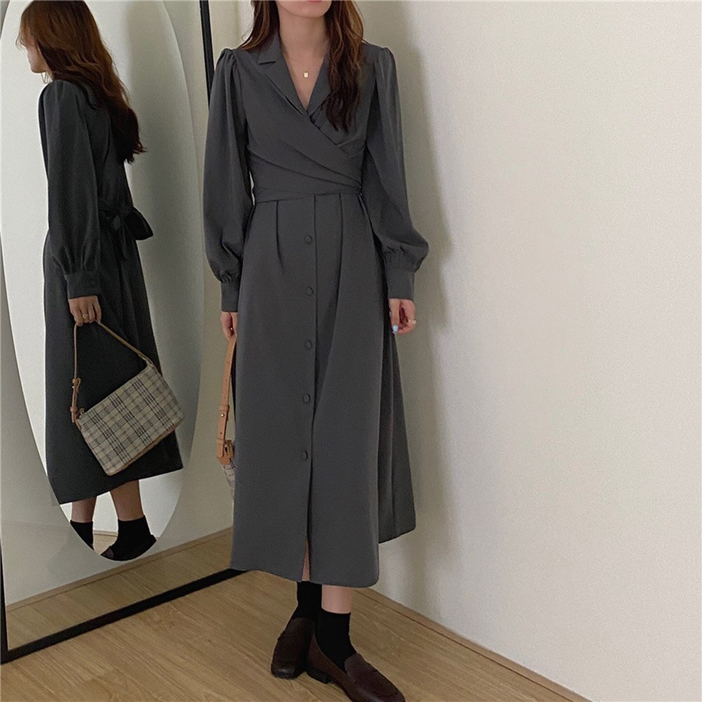 Notched Dress Female Spring And Autumn 2021 New Korean Style Fashionable Office Lady Dresses Women Solid Casual Clothing 2021