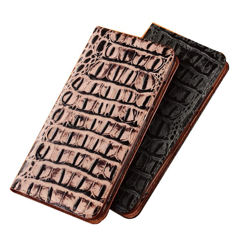 Crocodile Grain Genuine Leather Magnetic Mobile Phone Case Card Slot Holster For OPPO Realme 6 Pro/OPPO Realme 6 Phone Bag Funda
