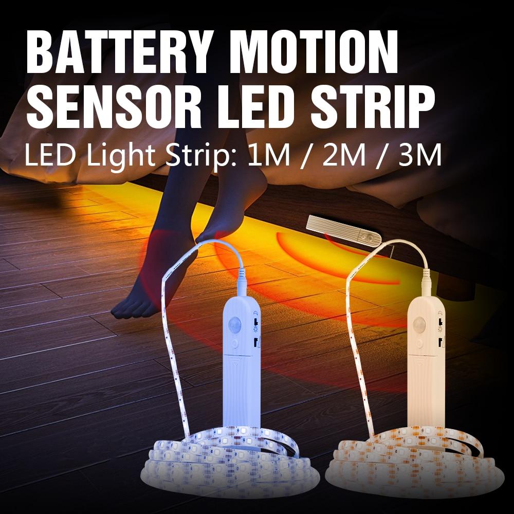 Led Closet Light Strip PIR Motion Sensor Smart Lamp Tape 1M 2M 3M Stair Bedroom Lamp 4AAA Battery Kitchen Closet Strip Lights