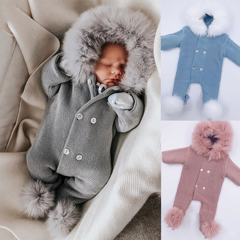 Baby Sweaters Infant Knitted Rompers with Fur Collar Newborn Gilrs Boys Knit Warm Jumpsuit Toddler One Piece Long Sleeve Rompers baby girl bodysuits winter warm newborn boys one piece jumpsuits cute rabbit knit long sleeve body suits with legs sunsuit 0 24m