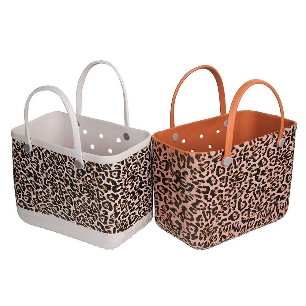 Dropshipping Extra Large Beach Bags Leopard Printed EVA Basket Women Large Capacity Summer EVA Beach Bag Totes For Women