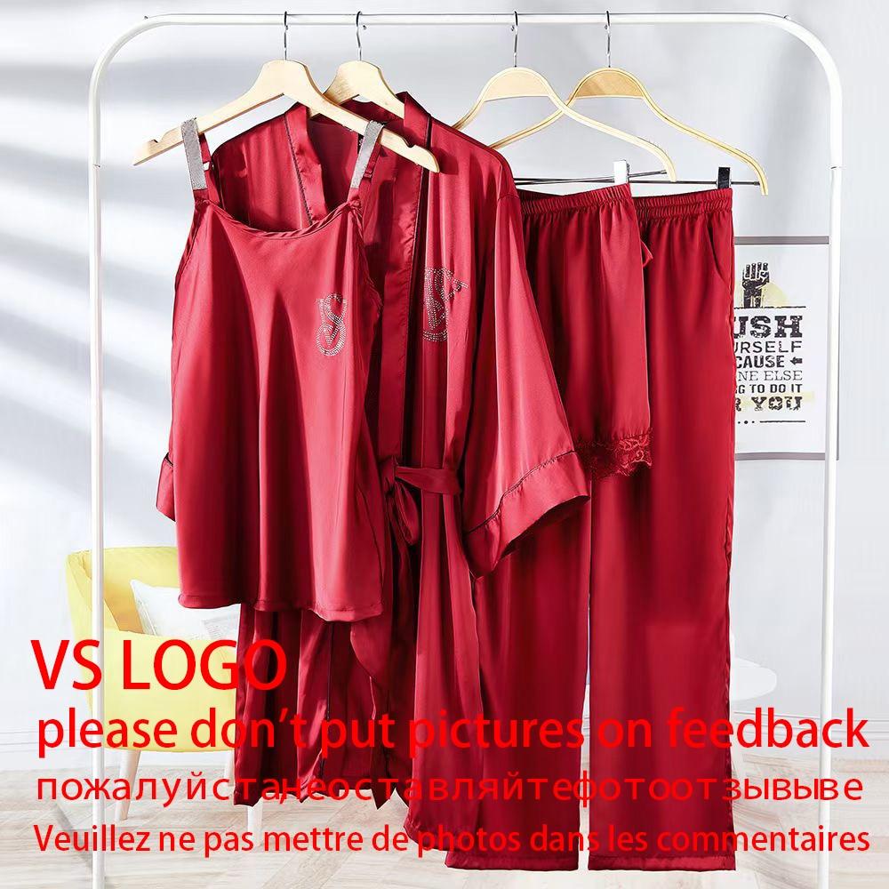 Summer 4 Piece Pajama Sets Fashion Brand Design loungewear For Women Sexy Comfortable Lingerie Brand Letters Homewear Sleepwear